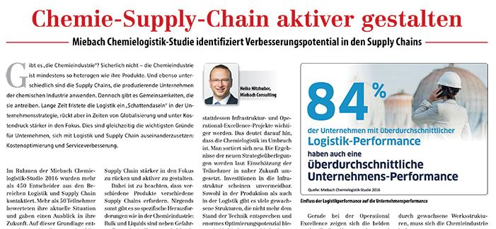 Miebach-Chemielogistikstudie: Chemie-Supply-Chain aktiver gestalten